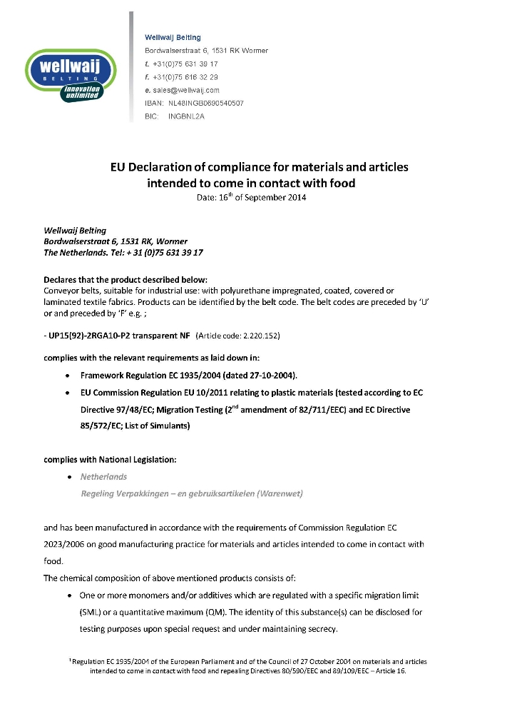 Declaration of compliance (FDA/EU)